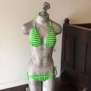 Green stripe string bikini